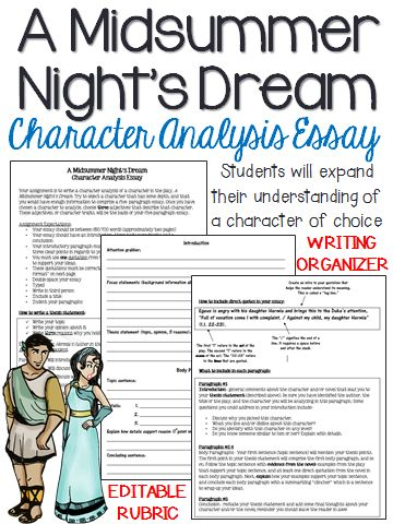 A Midsummer Nightu0027s Dream Character Analysis, Five-Paragraph Essay - character analysis