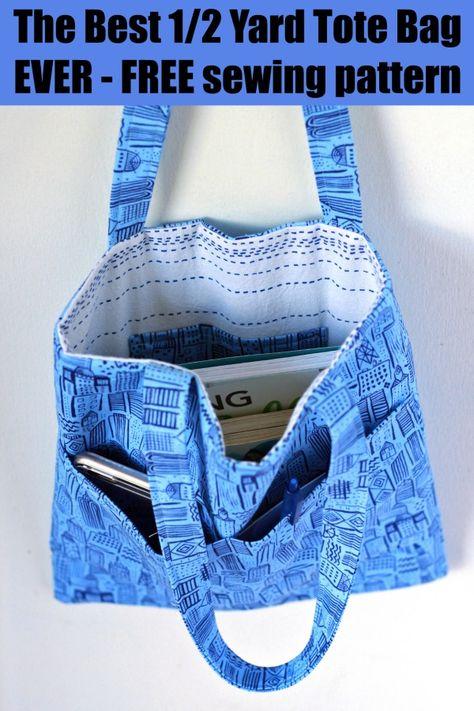 Bag Patterns To Sew, Tote Pattern, Bag Pattern Free, Easy Sewing Patterns, Sewing Tutorials, Bag Tutorials, Wallet Pattern, Sewing Ideas, Diy Tote Bag