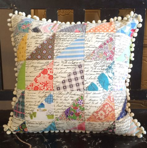 Vintage Patchwork Pillow Cover by shabbytrunk on Etsy Glam Pillows, Burlap Pillows, Vintage Pillows, Decorative Pillows, Throw Pillows, Handmade Pillows, Patchwork Pillow, Quilted Pillow, Quilting Projects