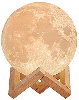 Amazon Com Mind Glowing 3d Moon Lamp 16 Led Colors Dimmable Rechargeable Night Light Large 5 9in With Wooden Stand In 2020 Wooden Stand Led Color Night Light