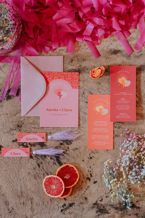 Stationery Invite Invitation Pink Orange Disco Wedding Ideas Lex Fleming Photo #WeddingStationery #WeddingInvite #WeddingInvitation #Wedding