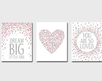 Set Of Prints You Are So Loved Print Dream Big Little One Print Pink Gray Gold Nursery Decor Baby Girl Nursery Quotes Printable Heart Love Gold Nursery Decor Girls Room Decor