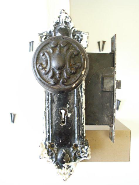 Matching Set Heavy Cast Brass 1910 Doorknobs