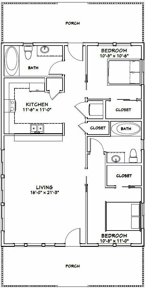 28x40 House 2 Bedroom 2 Bath Pdf Floor Plan 1 120 Sq Ft Model 1a 29 99 Piccl Tiny House Floor Plans Cabin House Plans Barndominium Floor Plans