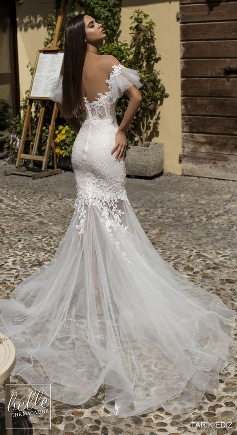 Wedding Dresses 2019 - The White Bridal Collection. Mermaid lace wedding dress with tulle skirt off the shoulder cold shoulder bell sleeves sweetheart neckline#weddingdress#weddingdresses#bridalgown#bridal#bridalgowns#weddinggown#bridetobe#weddings#bride#dreamdress#bridalcollection#bridaldress#dressSee more gorgeous wedding dresses by clicking on the photo