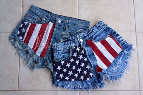 American flag Levi high waisted denim shorts