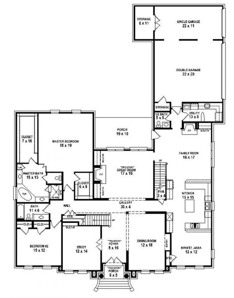 653916 Two Story 5 Bedroom 4 5 Bath Traditional Style House Plan House Plan With Images Bedroom House Plans House Plans With Pictures 5 Bedroom House Plans