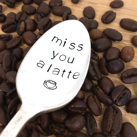 Going Away gift, Hand Stamped spoons, coffee lover, coffee gift, miss you, coworker, long distance r