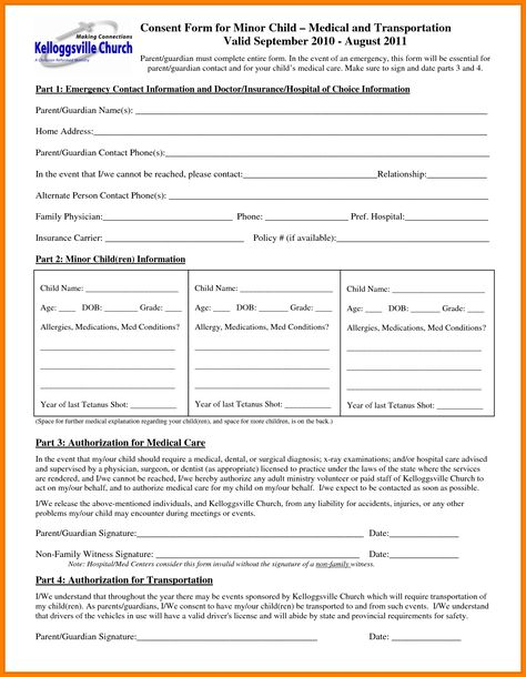 free child medical consent form generic release liability - parental consent form