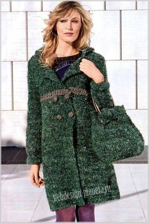 c3a24477731 Зеленое пальто спицами и сумка