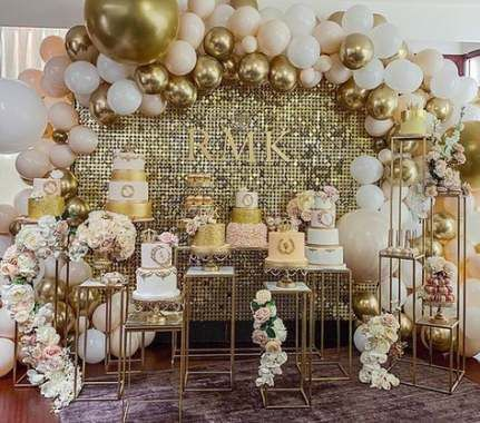 45 Ideas For Party Decorations Table Gold Balloons Gold Theme Party Wedding Decorations Party Decorations