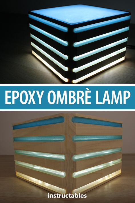 This blue ombre lamp is made from wood with epoxy resin integrated into the design.  #Instructables #workshop #lighting #woodworking #decor