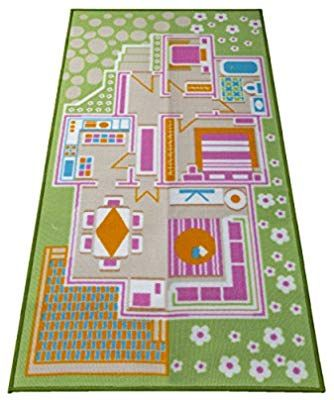 Kids Carpet Playmat Rug Play Time Fun House Great For Playing With Dolls Mini People Figures Cars Toys Learn Education Doll Play Carpet Playmat