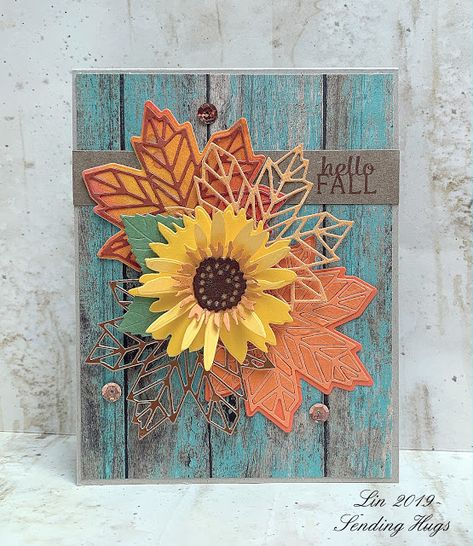 I think I mentioned recently that I have my autumn craft supplies all in a big bin. I even save scrap die-cuts that haven't be. Sunflower Cards, Sending Hugs, Stamping Up Cards, Thanksgiving Cards, Hello Autumn, Card Sketches, Card Tags, Halloween Cards, Scrapbook Cards