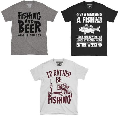 Funny Fishing T Shirts - Triple PackPack of 3 mens fishing t shirtsLooking for funny fishing giftCheck these three funny fishing t shirts for menWhy have one fish shirt when you can have threeFunny fishing t shirts UKPerfect gift idea for the Fisherman / Angler in your life . This 3 pack of men's cotton fishing themed T Shirts features 3 of our funniest angling / fishing designs . Printed on 100% cotton t-shirts ( 90% cotton , 10% polyester for the grey version ) . this pack includes the followi