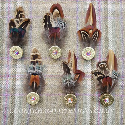 Bespoke pheasant feather pins with swarovski crystal detail