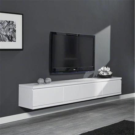 beau meuble tv blanc laque suspendu