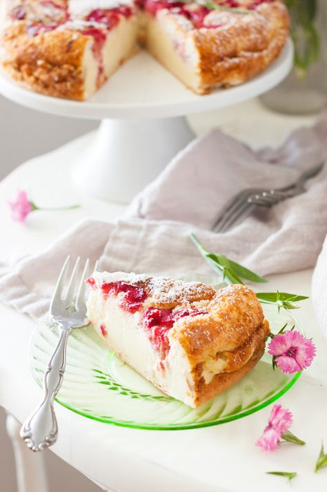 Rhubarb Magic Custard Cake - The Kitchen McCabe