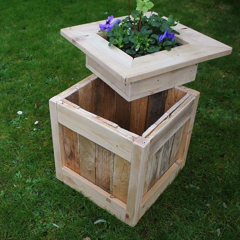 Rustic Planter Box with Hidden Storage