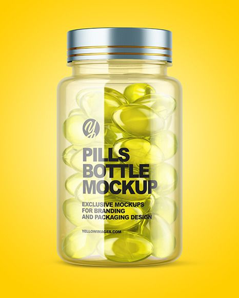 Clear Bottle With Soft Gel Capsules Mockup In Bottle Mockups On Yellow Images Object Mockups In 2021 Gel Capsules Bottle Mockup Bottle