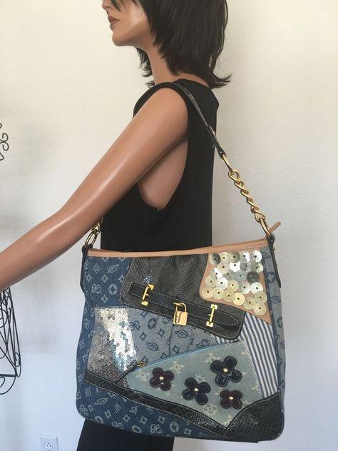 2259f1e21db34 Bag Jeans Denim Studs Sequin Designer Fashion Lock Shiny Hip Chic   Unbranded…