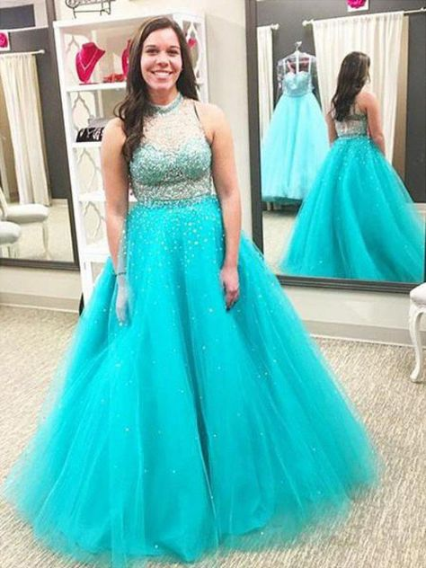 3486543a4bf Ball Gown High Neck Sleeveless Beading Floor-Length Tulle Plus Size Dresses  - Plus Size Prom Dresses - Prom Dresses - Hebeos Online