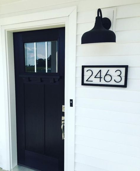 Black and White Shiplap House Numbers Address Sign Black Modern Farmhouse, House, Home Remodeling, Brick Exterior House, Home, Black House, White Shiplap, House Numbers, White Exterior Houses
