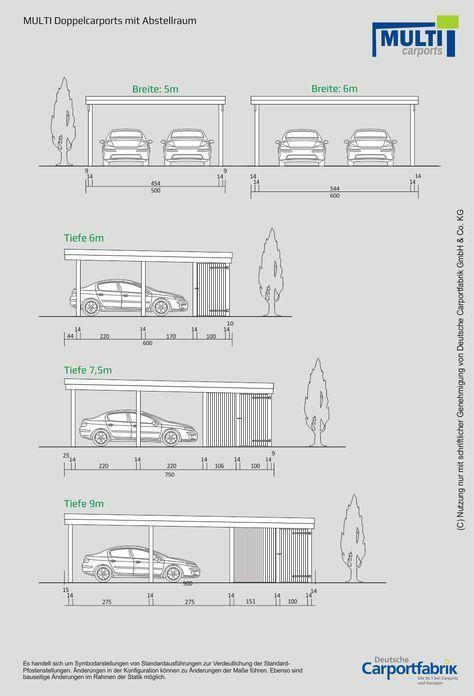Technische Ansichten Multi Flachdach Doppelcarport Mit Schuppen Doppelcarport Mit Abstellraum Doppelcarport Carport