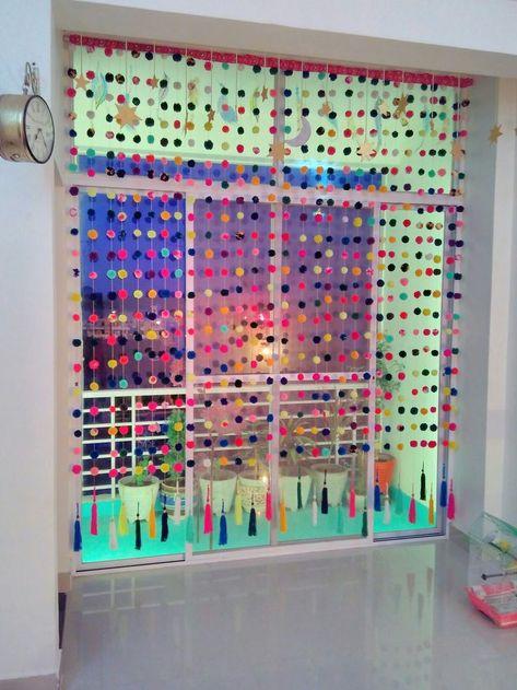 Pom pom curtain...love it.❤❤ - - #DiyHomeDecor