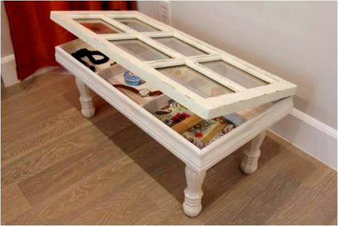 Create a #DIY keepsake coffee table by #upcycling an an old glass pane window. Great for added storage too! Created by Jared Dostie (licensed contractor and design expert for HGTV and Food Network).