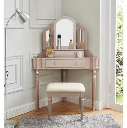 Cristal Two Drawer Corner Vanity Set Champagne Walmart Com Bedroom Vanity Set Corner Vanity Vanity Set With Mirror