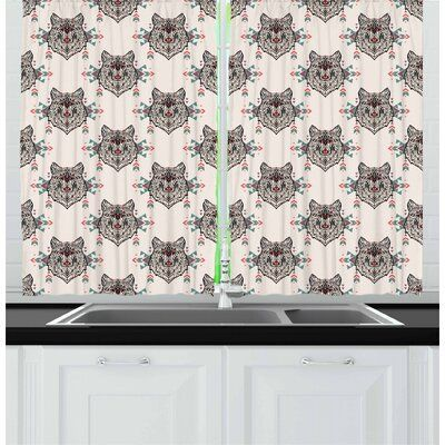East Urban Home Ambesonne Dog Lover Kitchen Curtains Wolf Pattern With Design E In 2020 Kitchen Curtains East Urban Home Curtains