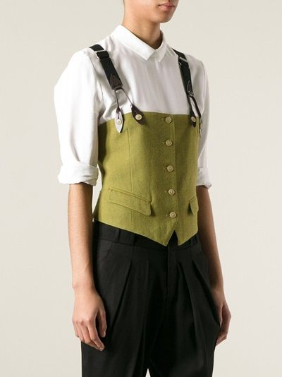 Jean Paul Gaultier Vintage waistcoat with braces. I think this would be easy to recreate using an old vest and some suspenders.