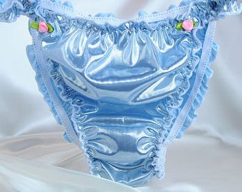 VTG style metallic Candy Apple Green shimmer glitter ladies shiny high gloss foil string bikini panties S XXL