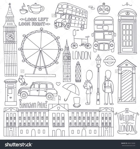 Collection of London symbols.Set of outlined icons.