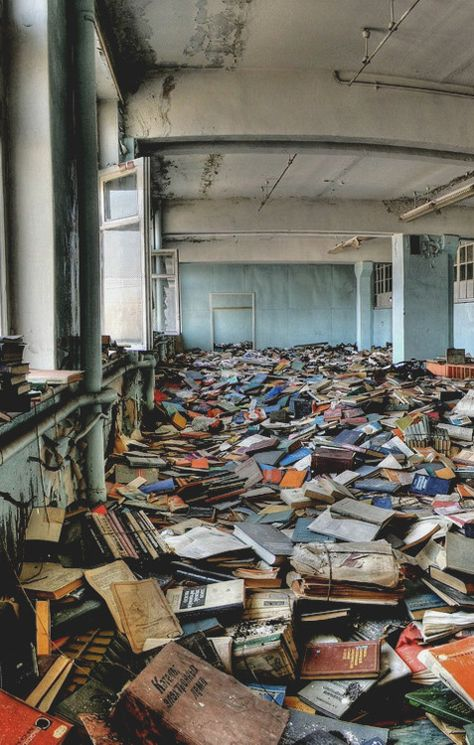 abandoned russian factory library