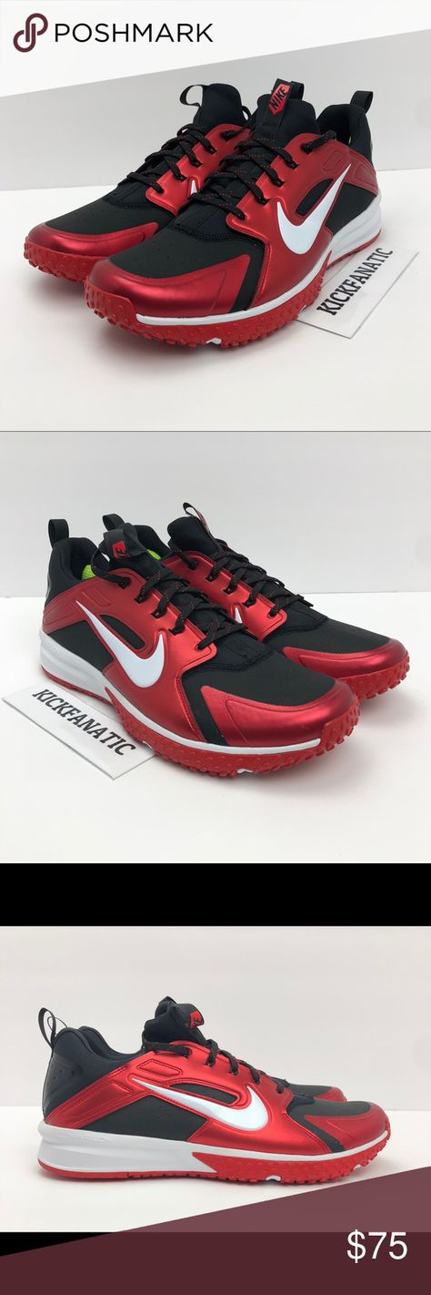 8ced37d11c26 Nike Alpha Huarache Turf Baseball Red Black Sz 12 Nike Alpha Huarache Turf  Baseball Shoes -