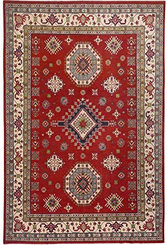 Stunning Red Ivory Geometric Super Kazak Wool Oriental Area Rug 9x12 Hand Knotted Dining Room Carpet 8 11 X 11 In 2020 Oriental Area Rugs 9x12 Area Rugs Room Carpet
