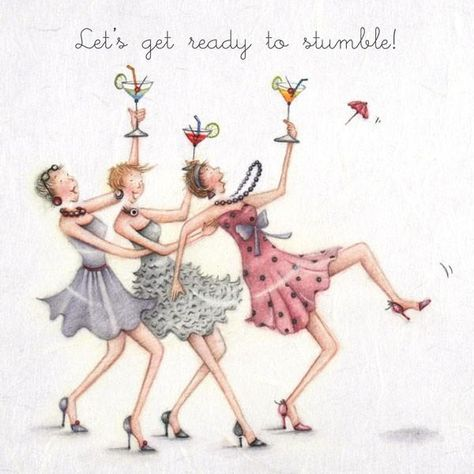 Cocktails Greeting Card - Lets get ready to stumble! - Berni Parker – GingerInteriors.co.uk