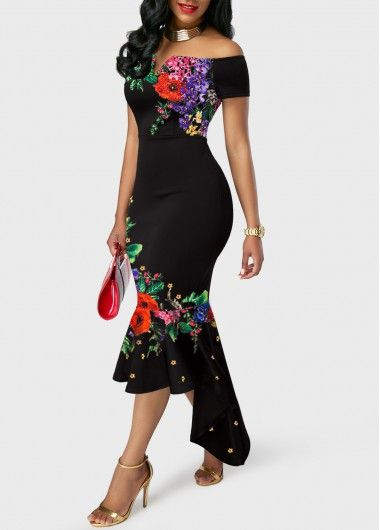 ab694ae0db Retro Flower Print Off the Shoulder Black Sheath Dress | modlily.com ...