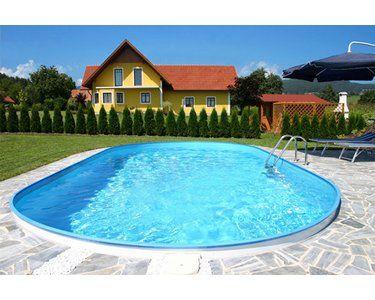 Stahlwand Pool Set Fidschi Einbaubecken Ovalform 600 Cm X 320 Cm X