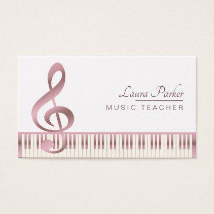 Music Teacher Piano Keyboard Rose Gold Business Card Zazzle Com Rose Gold Business Card Cards Music Teacher