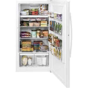 Ge Garage Ready 17 3 Cu Ft Frost Free Upright Freezer In White Fuf17dlrww The Home Depot Upright Freezer Cool Things To Buy Interior Lighting