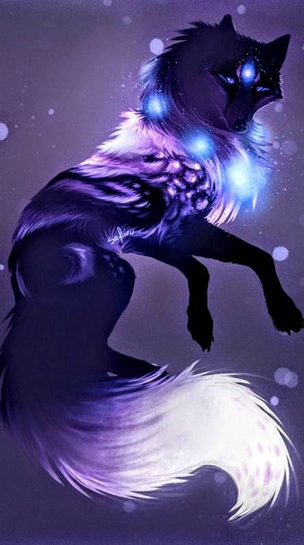 Galaxy wolf Mythical creatures art Mystical animals Fantasy art