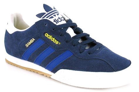 Adidas Originals Samba Super Mens/Gents Suede Classic Adidas Originals Trainers,3 Stripes Branding To The Sides And Durable Rubber Toe Guard | New Navy/Royal/White | Wynsors