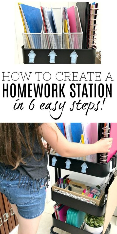 Ideas and simple tips to help back to school go smoothly with this amazing DIY Homework Station. Kids Homework Organization, Kids Homework Room, Kids Homework Station, Back To School Organization, Back To School Hacks, Organization Station, Going Back To School, School Stuff, Stationary Organization