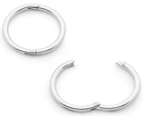 1x Pair 16mm Sterling Silver Round Hinged Hoop Sleeper Earrings