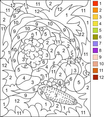 Nicole's Free Coloring Pages: COLOR BY NUMBER * Thanksgiving Coloring page   ( I copy and paste the picture to a word document,adjust the size.center the picture then print)