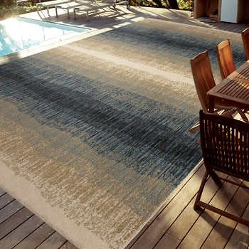 Easy Living Indoor Outdoor Rug 7 10 X 12 Skyline Blue Stain And Fade Resistant Olefin Blue Outdoor Rug Outdoor Rugs Rugs