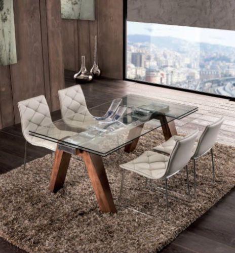 Tavolo Allungabile Moderno Cristallo.Dettagli Su Tavolo Gambe In Legno Massello E Piano In Cristallo